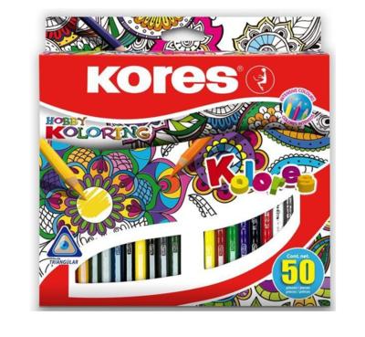 Pastelky trojhranné KORES 50 ks - 1