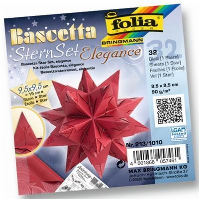 Folia Origami Hvězda Bascetta Elegance - červená, 32 archů 9,5x9,5cm - 1
