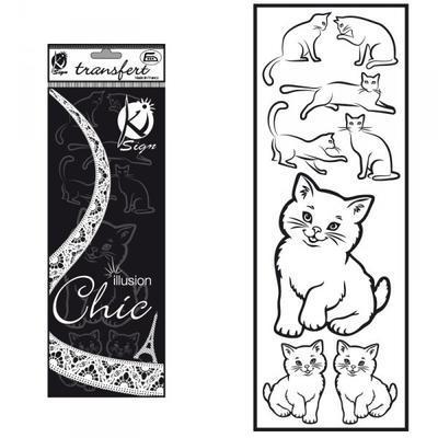 Samolepka na textil zažehlovací sametová  10x30 cm - CHATS  kočky - 1