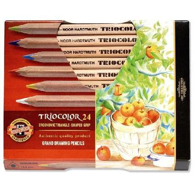 Trojhranné pastelky Triocolor silné - 24 ks přírodní - 1