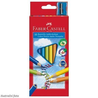 Faber-Castell Trojhranné pastelky JUMBO - 10 ks + ořezávátko - 1