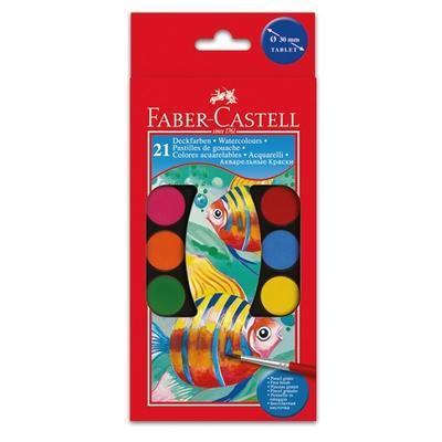 Faber-Castell Vodové barvy - 21 ks, paleta + 2 štětečky, 30 mm