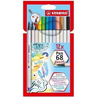 Stabilo Pen 68 brush - vláknový fix - sada 12 barev 568/12-21 - 1