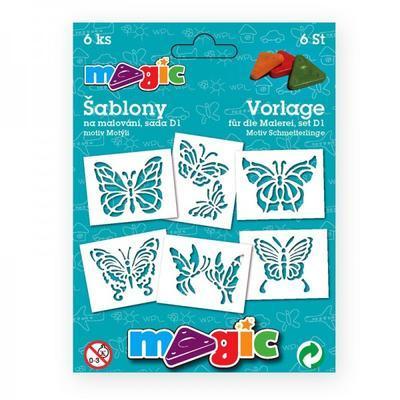 """Šablony na malování 6 ks - sada """"D1"""", Motýli"""