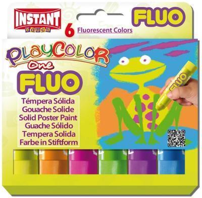 PlayColor - Tuhé temperové barvy Fluorescentní, 6ks - 1