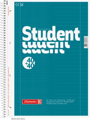 Student blok A4 duo, linka + čtver. 40+40 listů spirála - zelený - 1