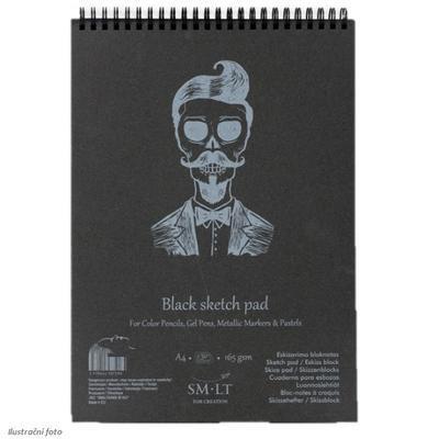 SMLT Blok Black Sketch Pad, A4, 165g/m2, 30 listů - černý papír