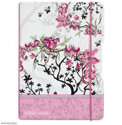Sešit Flex A5/40 listů, čtverečkovaný - Květ, barva růžová - 1