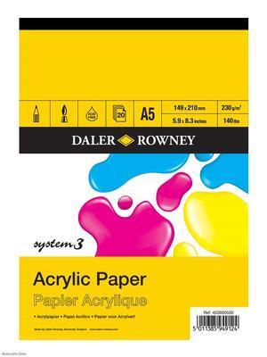 Daler & Rowney  System 3 Blok na akryl A5 230 g/m2, 20 listů