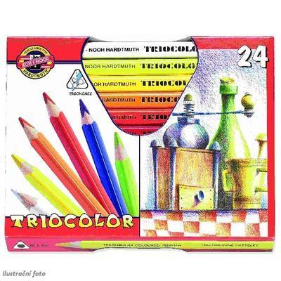 Trojhranné pastelky Triocolor silné - 24 ks lakované - 1