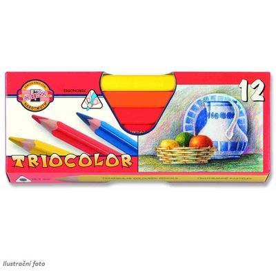 Trojhranné pastelky Triocolor silné - 12 ks lakované - 1