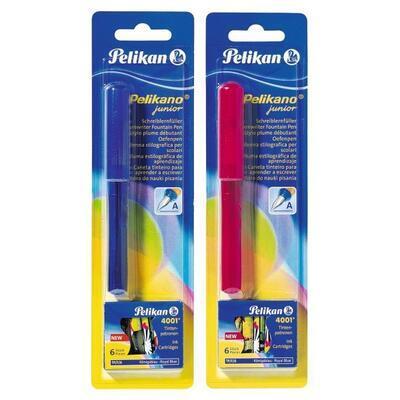 Bombičkové pero Pelikano Junior pro praváky - modré/červené + 6 bombiček