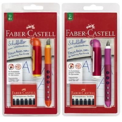 """Faber-Castell Školní plnicí pero - """"L"""" - ORANŽOVÉ, RŮŽOVÉ"""