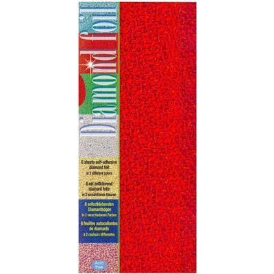Folie samolepící třpyt 100x230 mm  3 červené, 3 zelené