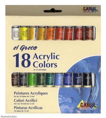 Sada barev Akrylic Colors el GRECO - 18x12 ml - 1