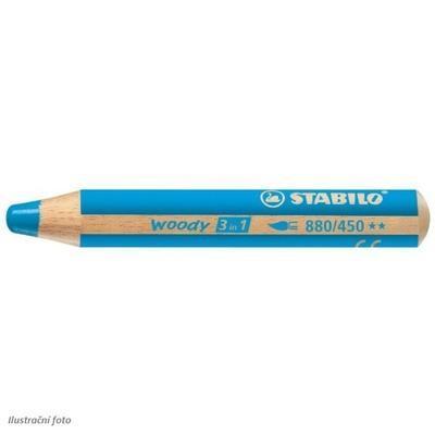Stabilo WOODY 880/450 Pastelka 3v1 - azurově modrá