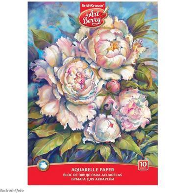 Blok na akvarelovou malbu - Pivoňky, A4, 180 g/m2, 10 listů