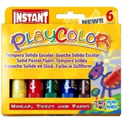 Playcolor Tuhé temperové barvy - 6 ks - 1