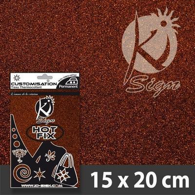 Nažehlovací fólie Hot-fix 15x20 cm glitrová - hnědá