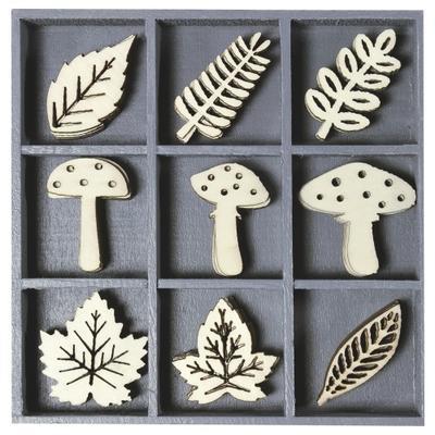 Dřevěné ozdoby v boxu 45ks - houby a listy