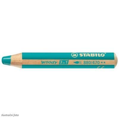 Stabilo WOODY 880/470 Pastelka 3v1 - tyrkys