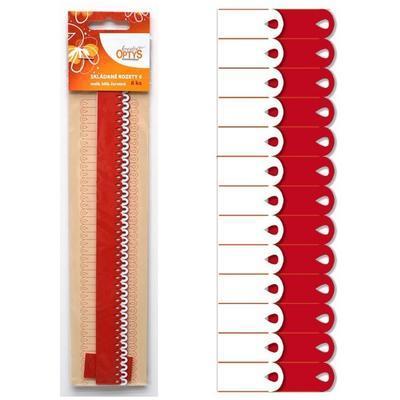 Výřez - Skládané rozety 6, malé, bílé, červené, 8 ks - 1