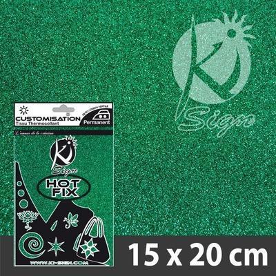 Nažehlovací fólie Hot-fix 15x20cm glitrová - smaragdová