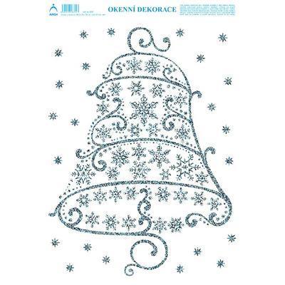 Vánoční adhezní nálepky na okna 25x35cm - s glitry, Vánoční zvon