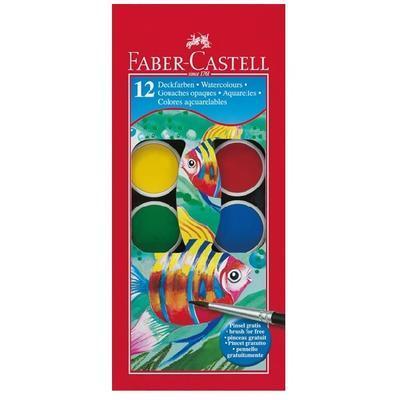 Faber-Castell Vodové barvy - 12 ks, paleta + štěteček, 30 mm - 1
