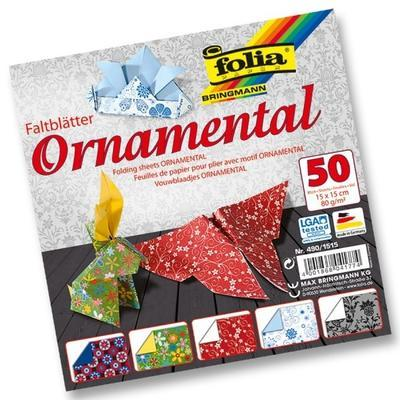 Papíry na origami 15x15 cm - 50 listů motiv Ornamental - 1