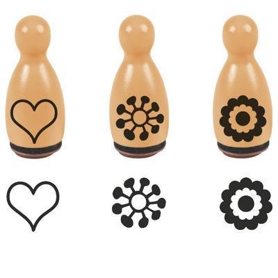 HEYDA Razítka dřevěné kuželky 1,6 x 3,5cm - Kytičky, srdíčko - 1