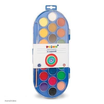 Vodové barvy PRIMO, průměr 30mm, 22ks + štětec - 1