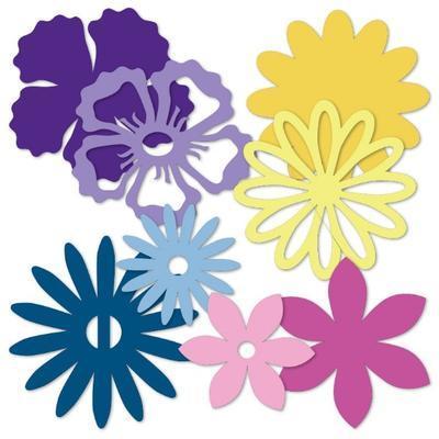 Výřez - Květiny, světlá/tmavá, 32 ks - 2