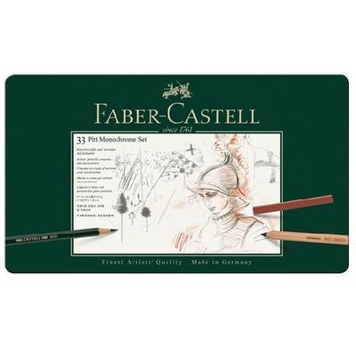 Faber-Castell Sada PITT Monochrome - 33 ks v kovové etui - 2