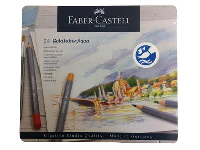Faber-Castell Pastelky Goldfaber Aqua - 24 ks v kovové kazetě - 2