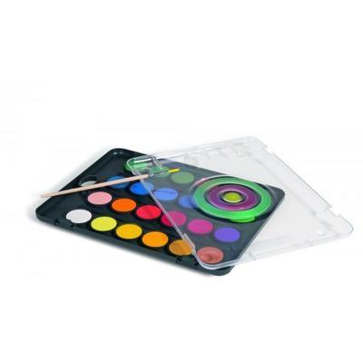 Vodové barvy PRIMO BLACK, průměr 30 mm, 24ks + štětec - 2
