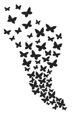 Šablona plastová 30x20cm - Motýlkové hejno - 2