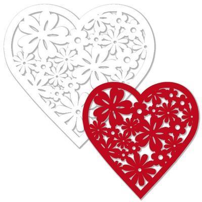 Výřez - Květinové srdce, bílé/červené, 12 ks - 2