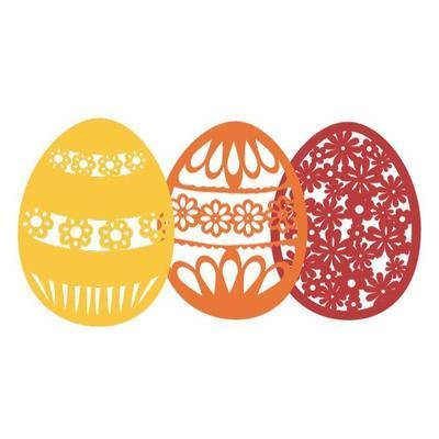 Výřez - Velikonoční vajíčka s květy, 8 ks - 2