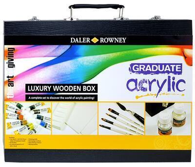 Daler & Rowney Graduate Acrylic Luxury Wooden Box - Akrylová sada v černém kufříku - 2
