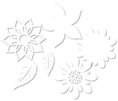 Výřez - Květiny 3 bílé - 2