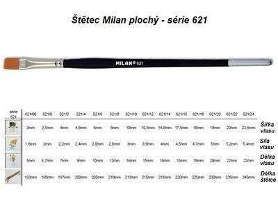 Štětec Milan série 621 - plochý, č. 16 - 2
