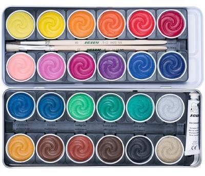 JOLLY SuperTabs  Vodové barvy, 24 barev v kovovém pouzdře  - 2
