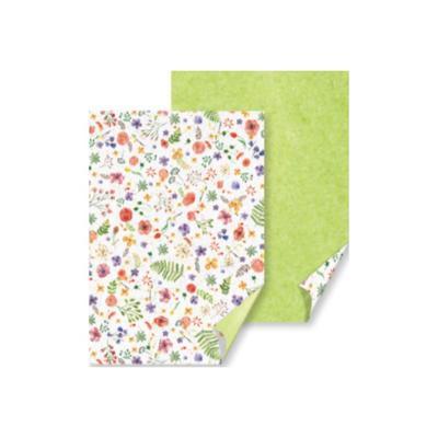 Karton A4, 220 g/m2  bílý-zelený - květy - 2