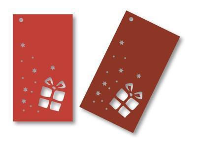 Výřez dárková visačka, červená - 12ks - 2