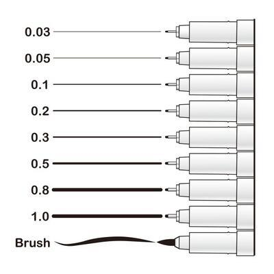 Marvy Technický popisovač černý - brush - 2