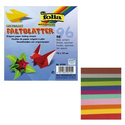 Papíry origami 13x13 cm - 96 listů, 12 sytých barev - 2