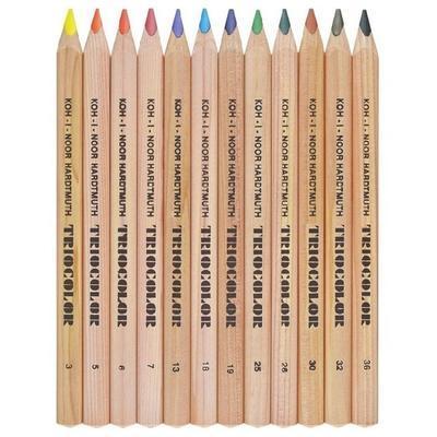 Trojhranné pastelky Triocolor silné - 12 ks přírodní - 2