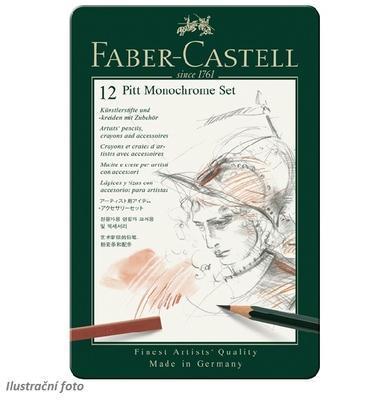 Faber-Castell Sada PITT Monochrome - 12 ks v kovové etui - 2