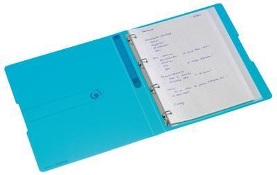 Pořadač A4/3 - 4 kroužky, transparentní modrý - 2